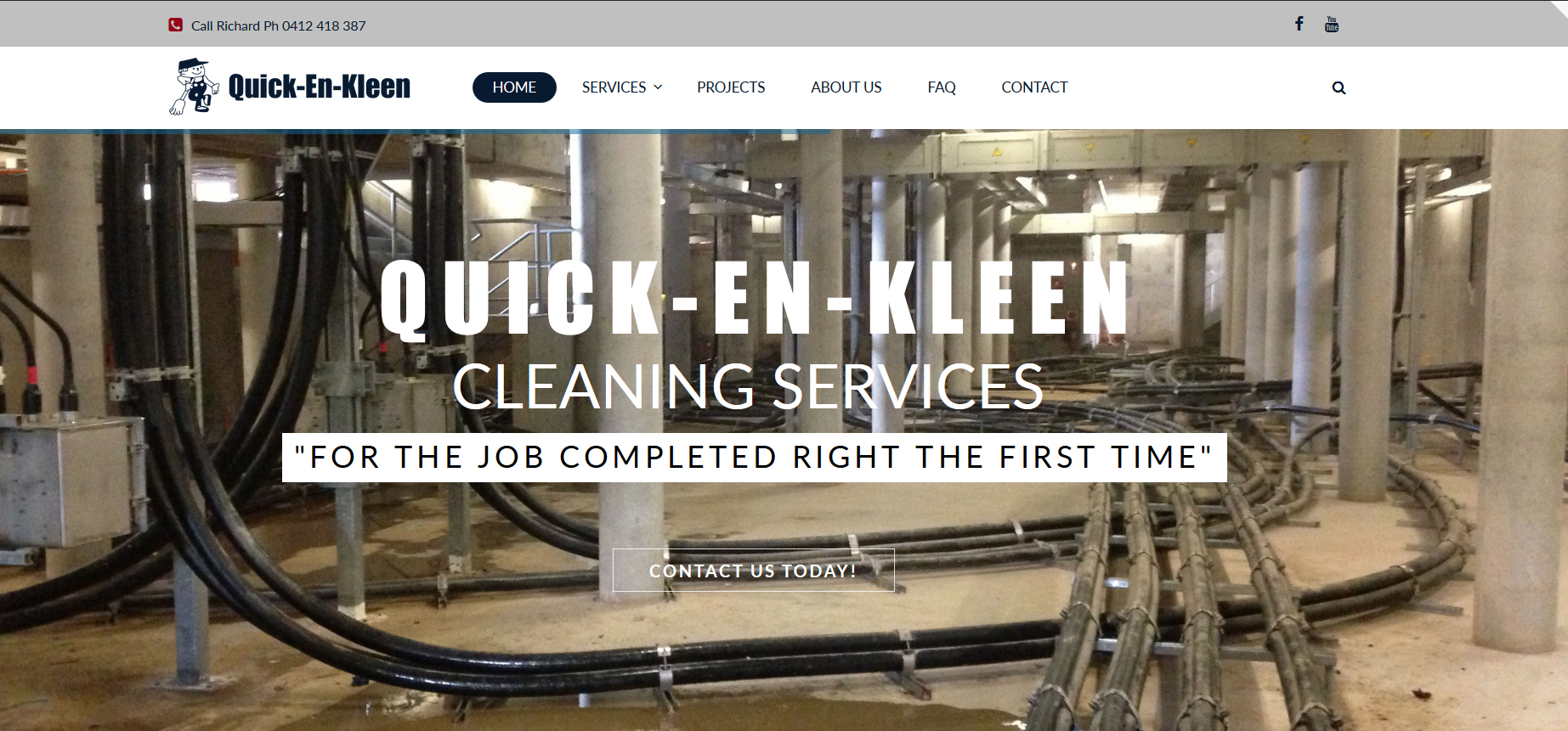Tara Whitie latest website design for Quick-En-Kleen