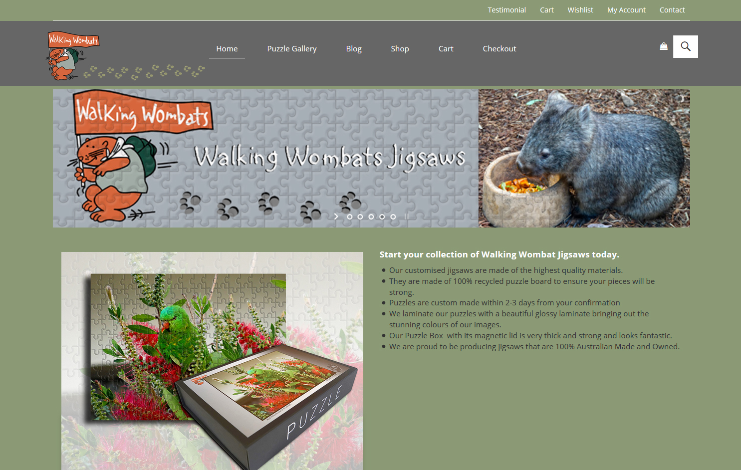 Tara Whitie latest website design for Walking Wombats Jigsaws