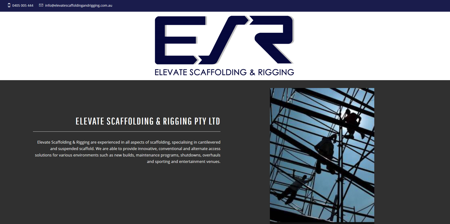 Tara Whitie latest website design for Elevate Scaffolding and Rigging